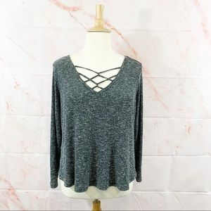 Almost Famous Caged Neckline Heathered Sweater 3X